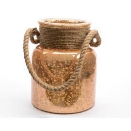 Váza skleněná s lanem