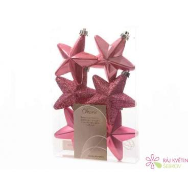 Hvězda plast 7,5cm mix 6ks růžová