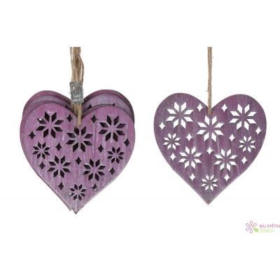 Dřevěné srdce 15cm růžová