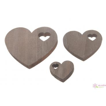Dřevěné srdce 3-7cm 15ks
