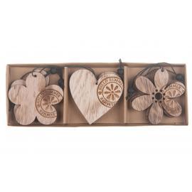 Dřevěné srdce, květ 6cm 6ks přírodní