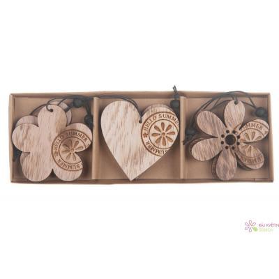 Dřevěné srdce, květ 6cm přírodní 1ks