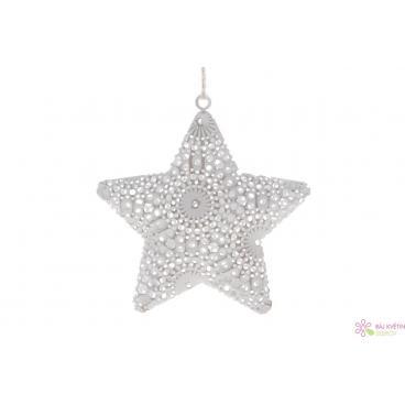 Kovová hvězda s poutkem 9x9cm bílá