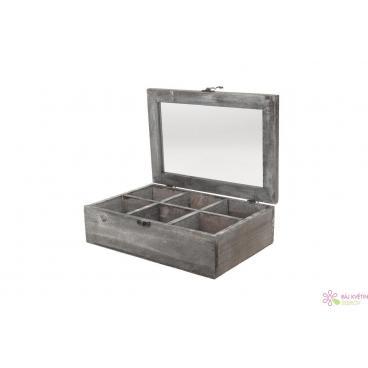 Dřevěný box 28,5x19,5x8cm šedá
