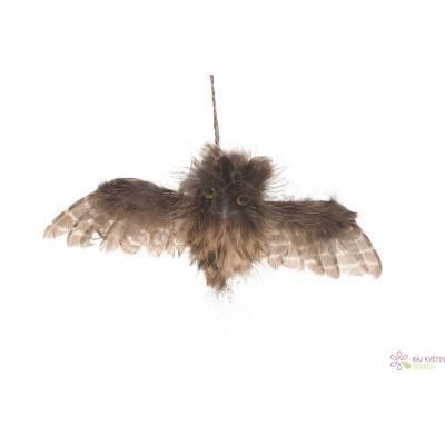 Sova letící z peří na pověšení 15cm přírodní