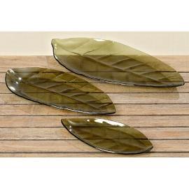 Skleněný tácek list 25cm zelená