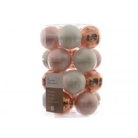 Baňky sklo 60mm růžovo- bílý mix 20ks