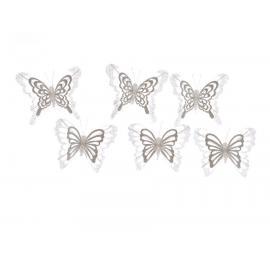 Motýl na drátku 12cm bílá