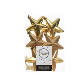 Hvězda plast 7,5cm mix 6ks světle zlatá