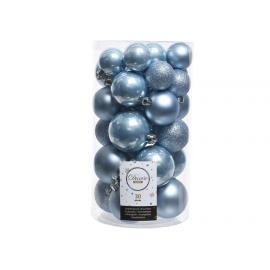 Baňky plast mix 30ks ocelově modrá