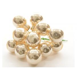 Baňky sklo lesk 2cm na drátku svazek perleť