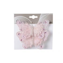 Motýl s perličkami na klipu 2ks