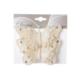 Motýl s perličkami na klipu 2ks perleť