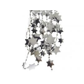 Girlanda s plastovými hvězdami 270cm stříbrná
