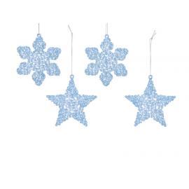 Ozdoba hvězda vločka plast s glitry ledově modrá