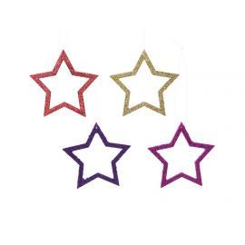 Ozdoba hvězda plast s poutkem 2ks