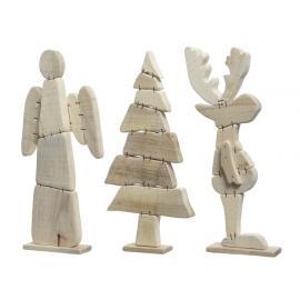Vánoční postavička dřevo 35cm přírodní