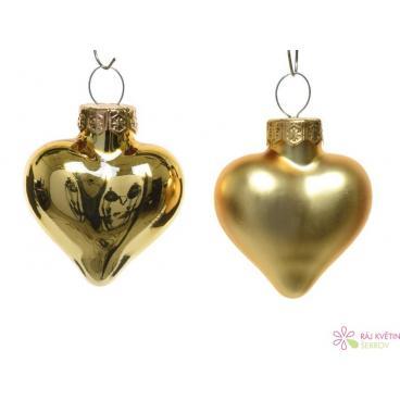 Baňky srdce sklo 2x4.5x4 cm lesk-mat světle zlatá 12ks