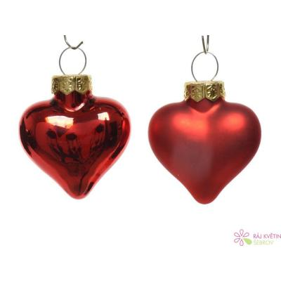 Baňky srdce sklo 2x4,5x4 cm lesk-mat červená 12ks