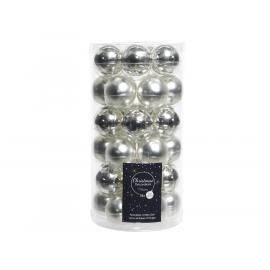 Baňky sklo mini 40mm lesk-mat stříbrná 36ks