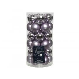 Baňky sklo mini 40mm lesk-mat šeříková fialová 36ks