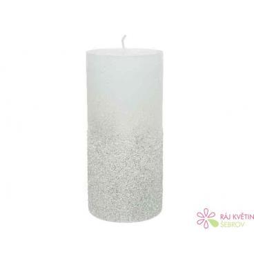 Svíčka vosk 7x15 cm bílá se třpytem 1ks