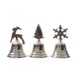 Vánoční zvoneček 10cm mix stříbrná 1ks