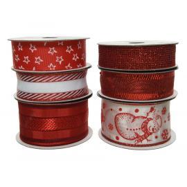 Dekorační vánoční stuha mix červená-bílá 1ks