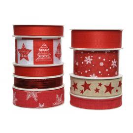 Dekorační vánoční stuha mix červená 1ks