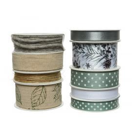 Dekorační vánoční stuha přírodní mix zelená-šedá 1ks