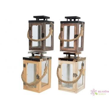 Dekorace dřevěná lucerna mix 14x14x26cm 1ks