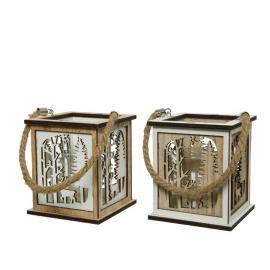 Dřevěná lucerna s vyřezávaným dekorem 9,5x9,5x11cm hnědá-bílá 1ks