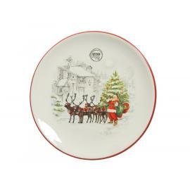 Sváteční talíř se Santou 25,8x2,7cm bílá 1ks