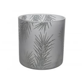 Skleněný svícen s větvičkou 15x15cm stříbrný 1ks