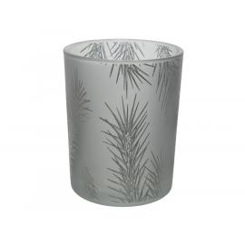 Skleněný svícen s větvičkou 10x12,5cm stříbrný 1ks