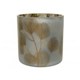Skleněný svícen se zlatými lístečky 15x15cm stříbrný 1ks