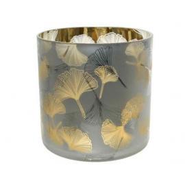 Skleněný svícen s lístečky ginkgo 15x15cm zlatý 1ks