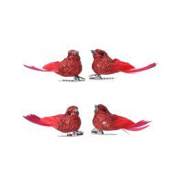 Ptáček se sponkou 2x5x2,5cm červená se třpytkami 4ks