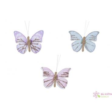 Motýlek se třpytkami na zavěšení 4x3cm mix 12ks