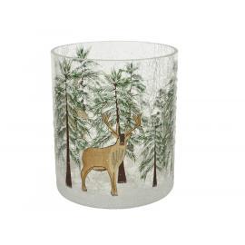 Skleněný svícen stromy a jeleni 11,5x13cm 1ks