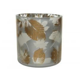Sklo na svíčku zlatý list 15x15 cm bílá 1ks