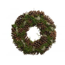 Věnec šišky sníh třpyt zelený 34x8,5 cm 1ks